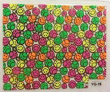 Nail Art 3D Decal Stickers Neon Smiley Faces Cute & Funny YGYY071