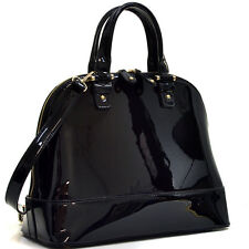 Women Handbag Patent Leather Shoulder Bag Zip Around Satchel Flat Bottom Design