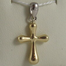 SOLID 18K WHITE & YELLOW GOLD CROSS, SHINY, STYLISH ROUNDED 0.91, MADE IN ITALY