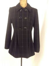 Charles Gray Black  Wool Double Breasted Jacket Pea Coat Empire Waist $399 M