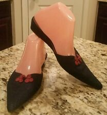 Ladies Size 7, VINCCI Blue Denim Slip-on Mules Low Wedge Slides Shoes