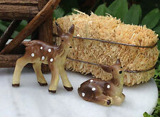 Miniature Dollhouse FAIRY GARDEN Accessories ~ Set of 2 Small Baby Fawn Deer NEW