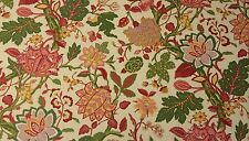 """RICHLOOM LARGE JACOBEAN FLORAL CREAM OUTDOOR INDOOR FABRIC BY THE YARD 54""""W"""