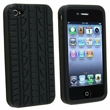 BLACK TYRE TREAD SILICONE GEL CASE COVER FOR APPLE IPHONE 4 / 4 S