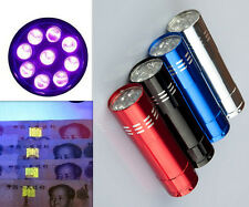 Mini Aluminum UV ULTRA VIOLET 9 LED FLASHLIGHT BLACKLIGHT Torch Light Lamp YOCA