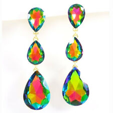 NEW SHIMMERING MULTI FACETED IRIDESCENT MULTI COLOR TEARDROP DANGLE EARRINGS