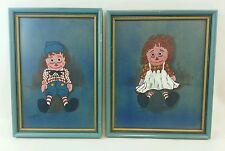 Vintage 1972 Jack A Parker Raggedy Ann & Andy Art Pictures pair