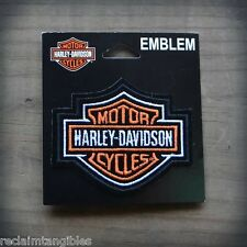 Harley Davidson Authentic Patch - Orange B&S Classic Logo - Small Emblem Badge