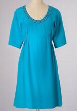 $148 BODEN VISCOSE ULTRAMARINE BLUE EMBELLISHED DECADENT TUNIC DRESS WH416 US 6R