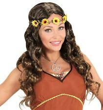 Ladies 60s 70s Brown Hippy Girl Wig Flowers Rock Roll Groovy Glasto Fancy Dress