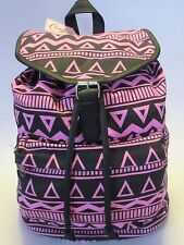 NEW! Candie's Riley Aztec Tribal Pattern Canvas Backpack - Pink & Black