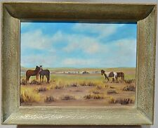1962 Signed Vintage Old Landscape of Horses in the Prairies Oil Painting