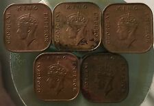 KGVl complete set 5pc 1cent Copper coins (1939,40,41i,43,45) high grade!