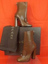 NIB GUCCI BROWN NUT LEATHER LILIAN HORSEBIT ANKLE BOOTS 36.5 6.5 $1100