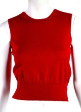 ALAIA True Red Stretch Cashmere Blend Sleeveless Knit Shell Top M
