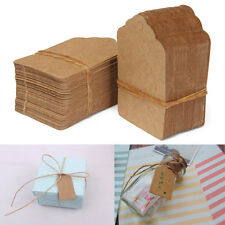 100Pcs Brown Kraft Paper Gift Tags Wedding Scallop Label Blank Luggage Name Card