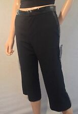 MARC JACOBS Designer Crop Black Patent Trim  Trousers  Size 10 Uk Bnwt £210 Nn80