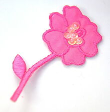 PINK FLOWER ROSE & SEQUINS Embroidered Iron Sew On Cloth Patch Badge  APPLIQUE