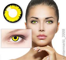 Farbige Crazy Karneval Halloween Kontaktlinsen Contact lenses - YELLOW LUNATIC