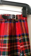 BLOOMINGDALE'S Red Wool Plaid PLeated Scotland Leather tab Skirt  - XS S