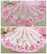 "8""*1Y Embroidered Floral Tulle Lace Trim~Pink+Red~Little Princess' Wardrobe~"