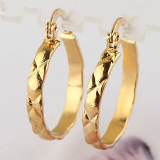 "Great Classic 14k Gold Filled X Carved Band Design 3/4"" Round Hoop Earrings"