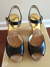 NIB New MICHAEL MICHAEL KORS LONDON PLATFORM Black Leather SANDALS  Size 7.5