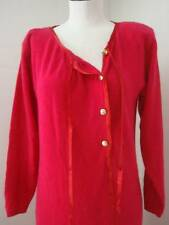 YSL YVES SAINT LAURENT VNTG DARK PINK KNIT L/SLEEVE SWEATER DRESS SZ 40
