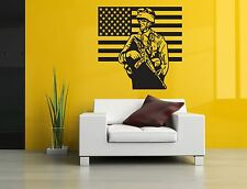 Wall Decor Art Vinyl Sticker Mural Decal American Flag Soldier Patriotic SA469