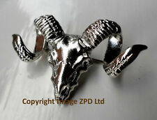 Goat Rams Head Skull with Horns Lapel Pin Badge Brooch