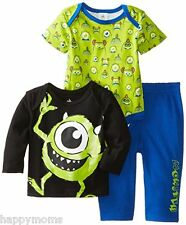 Disney Baby 3-6 Months Boys Clothes Monsters 3 Piece Pant Suit Top Set MSRP $30