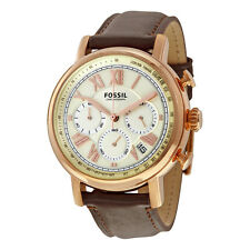Fossil Men's Buchanan FS5103 Brown Leather Rose Gold Tone Chrono Watch