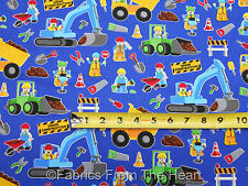 Construction Workers Dump Trucks Bulldozers BY YARDS Timeless Treasure Fabric