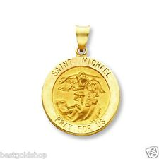 """3D 5/8"""" Saint Michael PRAY FOR US Medal Charm Pendant Solid Real 14K Yellow Gold"""