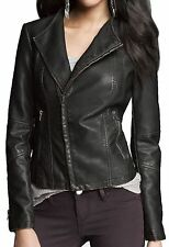 New EXPRESS Women's Faux Leather Jacket, nwt, L, $120 (Lined Moto Biker Coat)