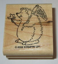 Hedgehog Butterfly Net Rubber Stamp Stampin' Up! Retired Hedgie EUC Wood Mounted
