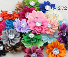 5pcs NEW 40mm DIY crystal satin ribbon Flower Appliques/craft/decoration T272