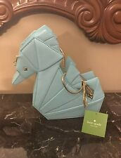 NWT Kate Spade Origami Seahorse Breath of Fresh Air Leather Purse Clutch W/Strap