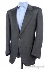 BRIONI Black Gray Geo Woven SILK WOOL LOGO BUTTON Blazer Sport Coat Jacket - 46