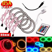 4 x RGB 80mm Multi-color LED Angel Eye Halo Rings for BMW E46 E39  New 5050