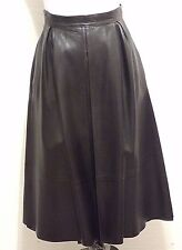 Vintage 60s SERGE MIKO PARIS 4 S Couture Thick Brown Real Leather Skirt Pleats