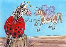 appaloosa Lady Bug pinto Horse fly ACEO EBSQ Loberg Fantasy Mini Art fence Post