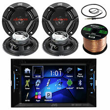 "JVC 2-Way Car 6.5"" Speakers, JVC Bluetooth CD USB Radio, Antenna, Speaker Wire"