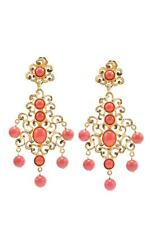 Kenneth Jay Lane Coral Gold Filigree Drop Earrings Long Orange 1086ELC NEW