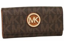 NEW MICHAEL KORS FULTON MK SIGNATURE CARRYALL BROWN PVC LEATHER WALLET