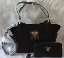 AUTHENTIC NEW NWT GUESS BLACK VERONA SATCHEL BAG PURSE WITH MATCHING WALLET