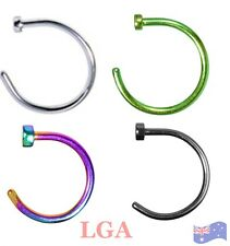 Set of 4 Nose Rings Hoop Open Ended Easy Fit Anodized Titanium 4 clrs 20g 10mm