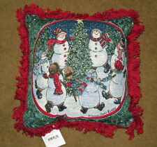 Reason For The Season Christmas Tree & Dancing Snowmen Tapestry Square Pillow