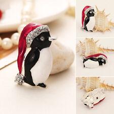 Unique Crystal Rhinestone Hat Penguin Brooch Enamel Pin Men Women Best Xmas