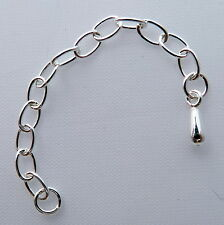 Sterling silver extension chain with tear drop. 65mm long with split ring.